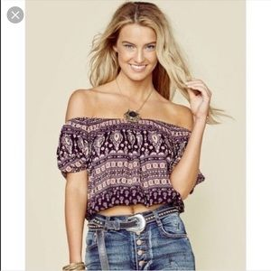 Spell & The Gypsy Gypsiana Black Crop Top S EUC